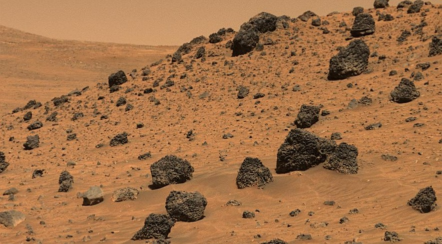 Martian rocks photographed by the robotic Spirit rover in 2006 as it rolled across Mars.