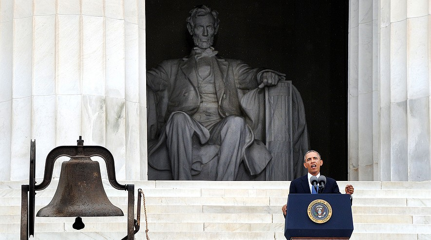 """President Barack Obama delivers remarks at the """"Let Freedom Ring"""" ceremony to commemorate the 50th anniversary of the March on Washington for Jobs and Freedom at the Lincoln Memorial on the National Mall on Aug. 28, 2013 in Washington, D.C."""