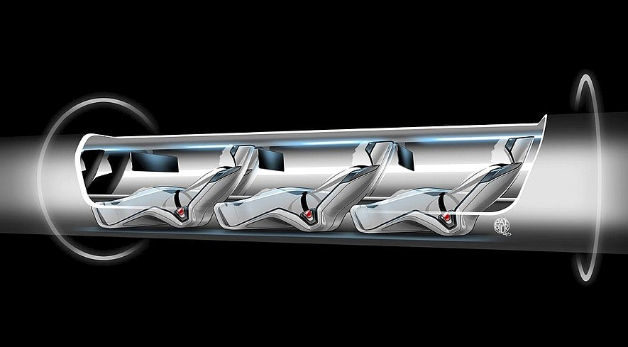 This image, released by Tesla Motors, is a sketch of the Hyperloop capsule with passengers on board. Elon Musk unveiled a concept for a transport system he says would make the nearly 400-mile trip in half the time it takes an airplane.