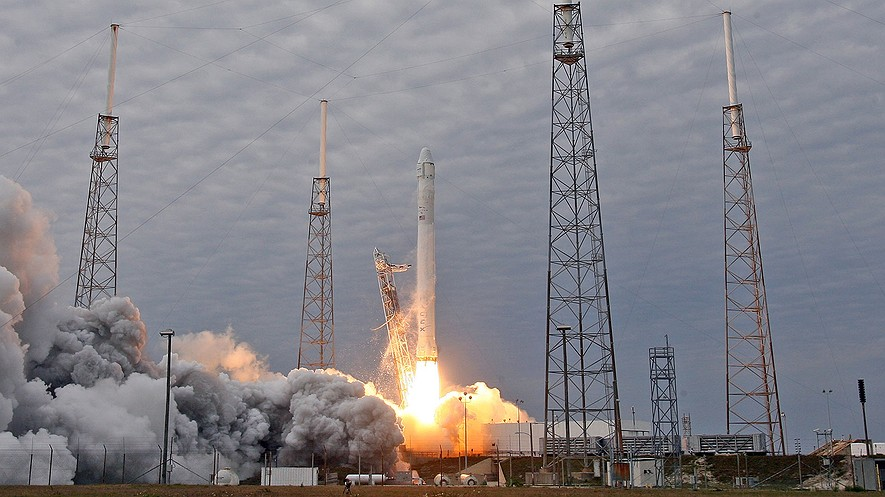 A SpaceX Falcon 9 rocket launches March 1, 2013, from Cape Canaveral Air Force Station for its second resupply mission to the International Space Station.