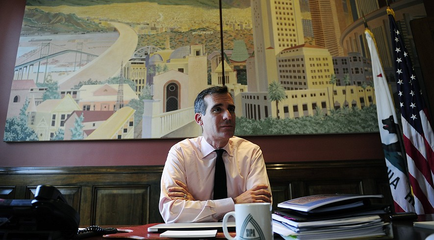 Mayor Eric Garcetti of Los Angeles pictured in his office, July 9, 2013.