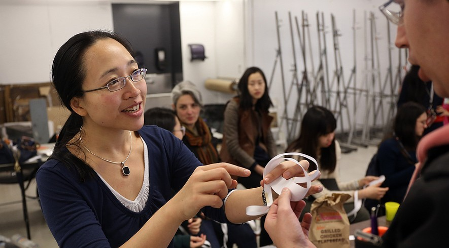 Eugenia Cheng, a pure mathematician and visiting scientist, speaks to a combined physics and studio class called