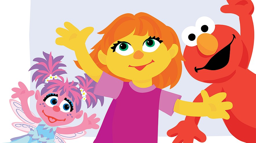 Julia (center) is Sesame Street's newest Muppet, a little girl with autism.