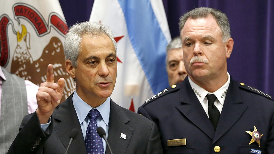 Chicago Mayor Rahm Emanuel (left) and Police Superintendent Garry McCarthy speak at a news conference Nov. 24, 2015, in Chicago, Illinois, announcing first-degree murder charges against police officer Jason Van Dyke in the Oct. 20, 2014, death of Laquan McDonald.