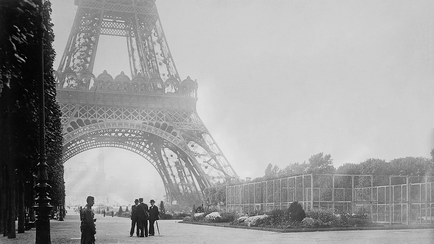 Guarding the Eiffel Tower, and its wireless station, in Paris, France, during World War I.