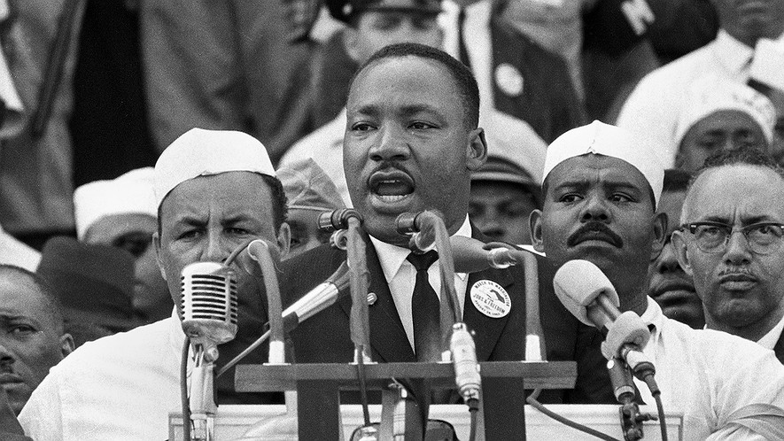 "On Aug. 28, 1963, Dr. Martin Luther King Jr., head of the Southern Christian Leadership Conference, addresses marchers during his ""I Have a Dream"" speech at the Lincoln Memorial in Washington."