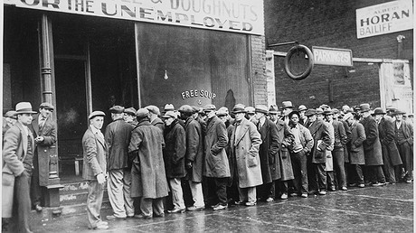 causes of the great depression unemployed men line up outside a depression soup kitchen in chicago illinois in 1931