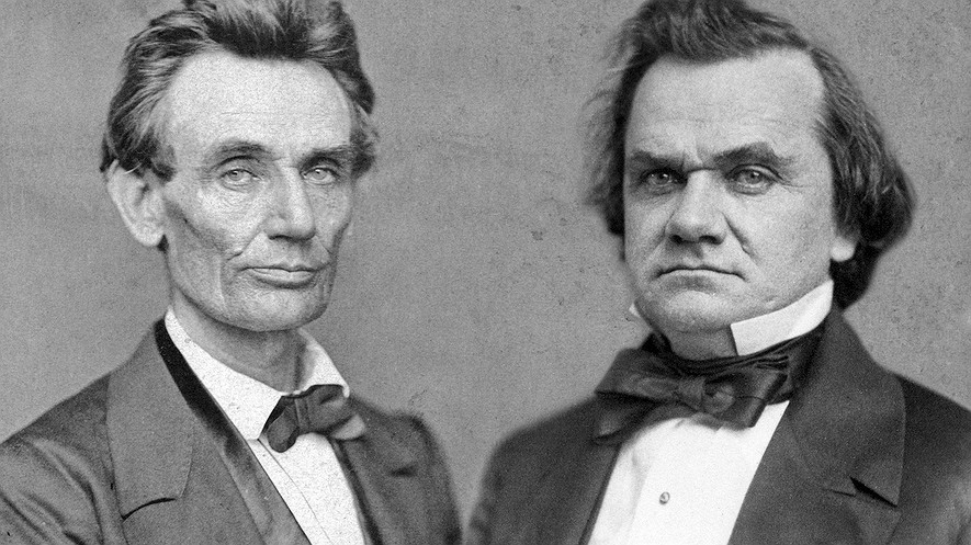 Composite image of portrait photographs of Abraham Lincoln in 1860 (left) and Stephen Douglas in 1859.