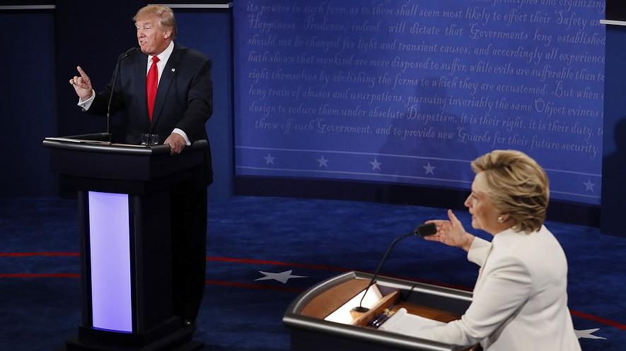 Democratic presidential nominee Hillary Clinton (right) and Republican presidential nominee Donald Trump make their points during the third and final presidential debate, Las Vegas, Nevada, October 19, 2016.