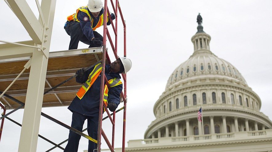 In this December 8, 2016, photo, construction continues on the Capitol steps in Washington, D.C., for the inauguration of Republican President-elect Donald Trump.