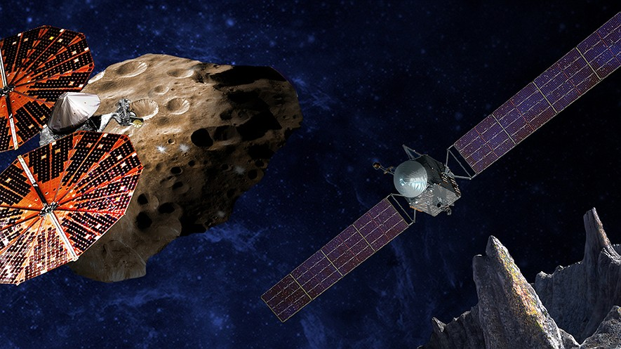 An artist's conception of the Lucy spacecraft flying by the Trojan Eurybates, which is one of the six diverse and scientifically important Trojans to be studied. Trojans are fossils of planet formation and so will supply important clues to the earliest history of the solar system.