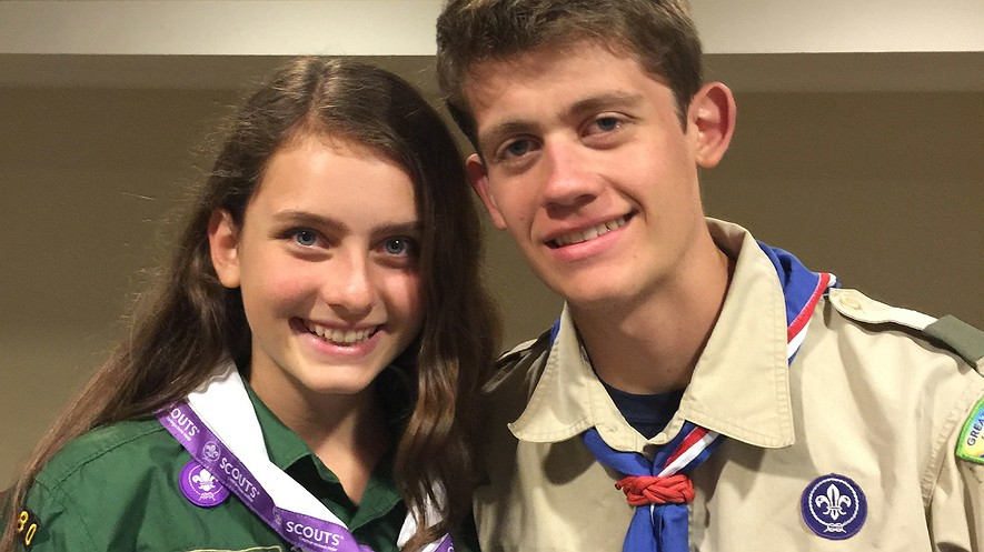 This June 2016 photo provided by Gary Ireland shows his 15-year-old daughter, Sydney (left), of New York City and his son, Bryan, who is an Eagle Scout, at a National Organization for Women conference in Washington, D.C. For several years, Sydney has been an unofficial member of her brother's troop in Manhattan, participating in many of its activities but unable to earn merit badges or work on the path to Eagle rank. Photo by: Gary Ireland via AP
