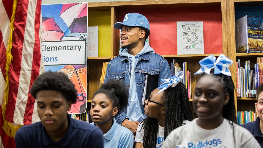 """Chance the Rapper holds a press conference at Westcott Elementary School in Chicago, Illinois, March 6, 2017. He said his donation to the school was a """"call to action."""" Photo by: Zbigniew Bzdak/Chicago Tribune/TNS."""