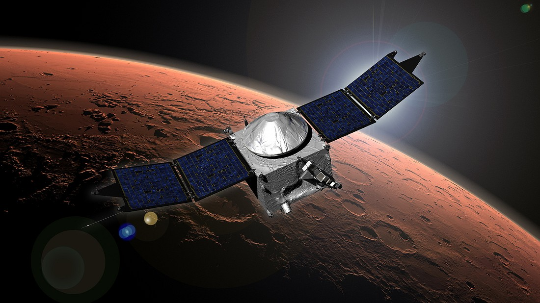 This image shows an artist concept of NASA's Mars Atmosphere and Volatile Evolution (MAVEN) mission. Image: NASA/Goddard Space Flight Center