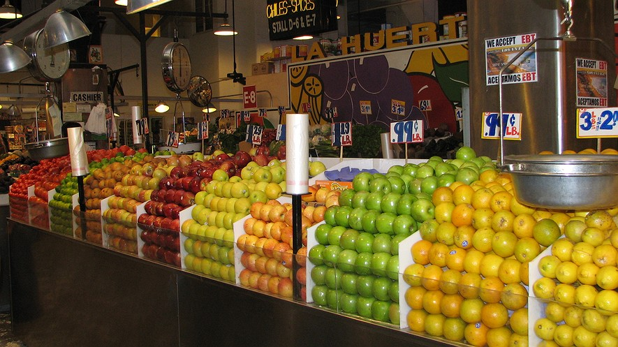 Produce is on display at Grand Central Market in Los Angeles, California. Even though more fresh products are increasingly available in cities, food deserts are on the rise. A food desert is a low-income area where much of the population lives more than a mile from a large grocery store or supermarket. Photo: Wikimedia