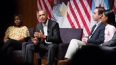 Former President Barack Obama (second from left) speaks on April 24, 2017, at the Logan Center for the Arts on the University of Chicago campus. He led a discussion on civic engagement with panelists Dr. Tiffany Brown (left), a pharmacist; Max Freedman of the University of Chicago (second from right) and Ayanna Watkins (right), a senior at Kenwood Academy High School. Photo: Zbigniew Bzdak/Chicago Tribune/TNS