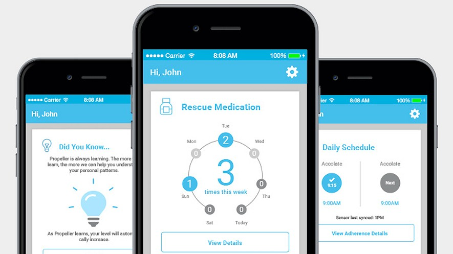 The Propeller app uses an inhaler with a Bluetooth transmitter that sends information to an asthma patient's smartphone. Doctors can then see the information, which can help them understand what caused the asthma attack as well as how frequently they occur. Photo: Propeller Health.