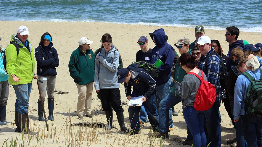 Students from Minuteman Career and Technical High School of Lexington, Massachusetts, learn about the effects of shoreline erosion at Cape Cod National Seashore in Massachusetts with the National Park Service's Climate Change Response team. Photo: NPS via Flickr