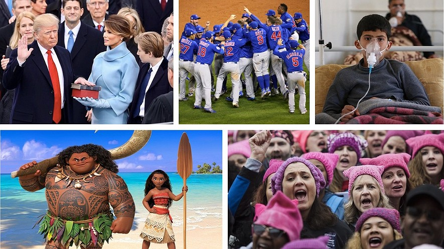 """TOP (from left): President Donald Trump takes the oath of office. Photo by: WhiteHouse.gov. The Chicago Cubs win the World Series. Photo by: Arturo Pardavila III/Wikimedia Commons. A Syrian boy receives treatment after a chemical weapons attack. Photo: Cem Genco/Anadolu Agency/Getty Images. BOTTOM (from left): Disney's """"Moana"""" was a big hit. Photo by: Disney. More than half a million people attended the Women's March on Washington, D.C. Photo by: Amanda Voisard/The Washington Post."""
