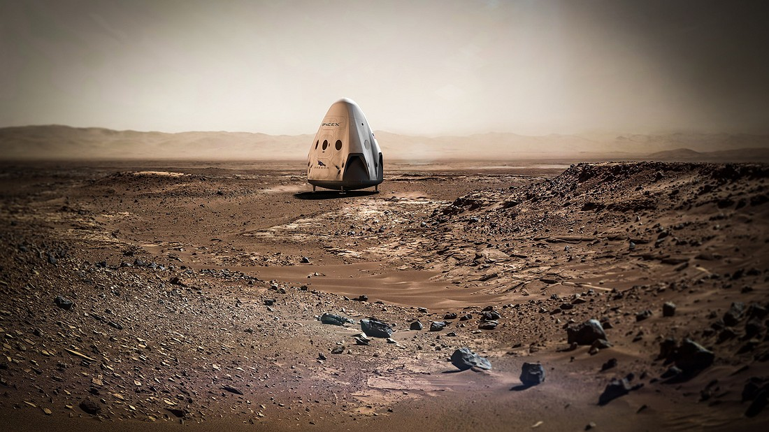 Concept art of sending the SpaceX Dragon to Mars. Elon Musk has revealed new details of his vision for a city on Mars populated by a million people. Photo by: SpaceX via Flickr