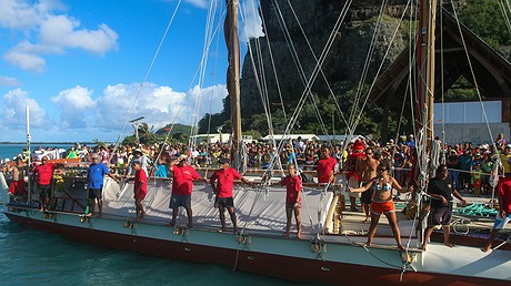 The Hokule'avessel is set to finish its first circumnavigation on June 17, 2017, in Honolulu, Hawaii. Thousands of families, students, educators, sustainability organizations, ocean conservationists, voyaging groups, community residents and visitors are expected to attend the celebration. Photo by: Scott Kanda/Polynesian Voyaging Society.