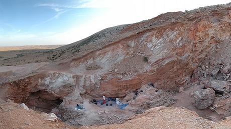 The Jebel Irhoud site in Morocco. At the time the site was occupied by early hominins, it would have been a cave, but the covering rock and much of the sediment were removed in the 1960s. Photo by: Max Planck Institute for Evolutionary Anthropology