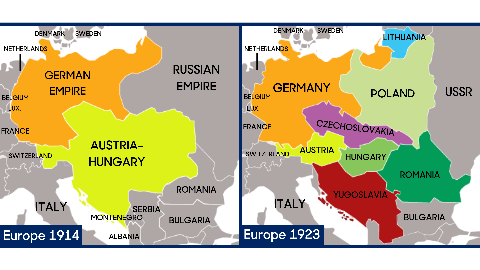 Newsela | Changing map of Europe before and after World War I