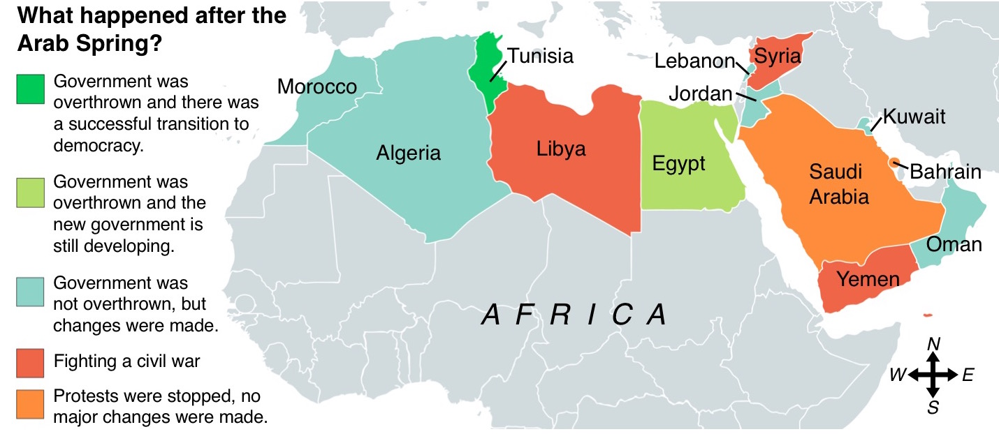 the arab spring affected a number of countries differently map newsela staff