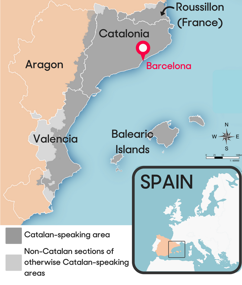 World Map Catalonia. Map of the Paisos Catalans  or Catalan Countries These are places where most Newsela Catalonia referendum Who