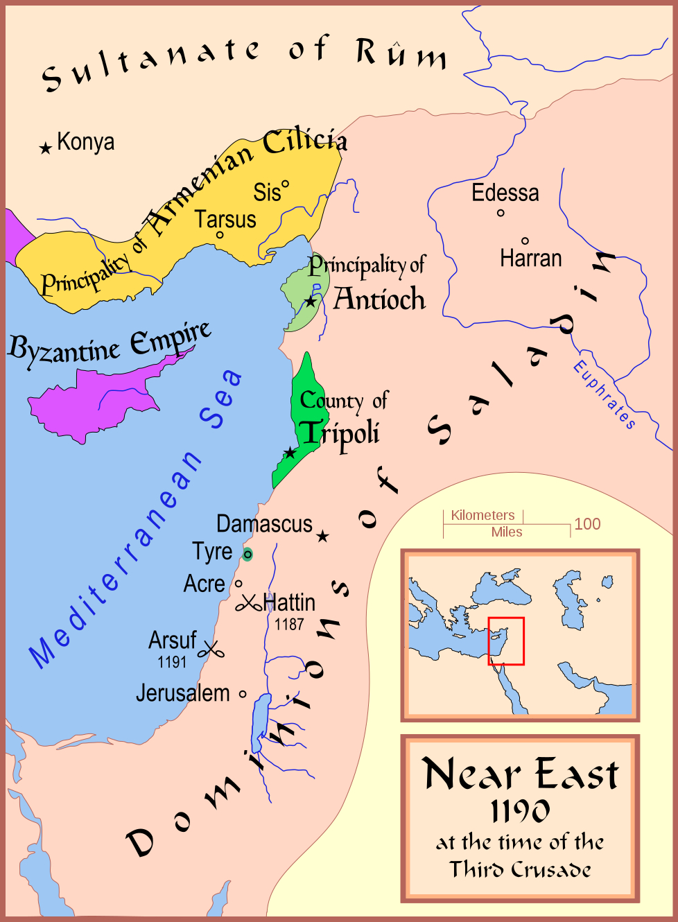 Newsela saladin muslim hero of the crusades a map showing part of the middle east in 1190 click to enlarge gumiabroncs Gallery