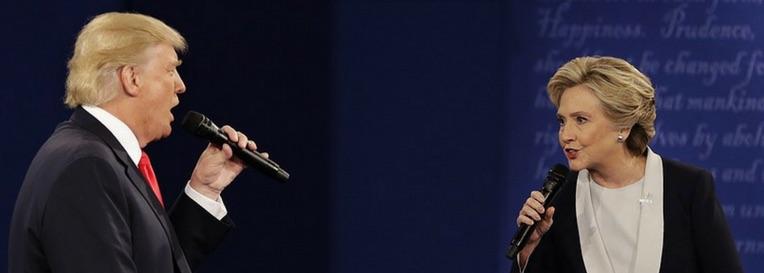 Donald Trump and Hillary Clinton speak during the second presidential debate. Photo: AP Photo/John Locher.