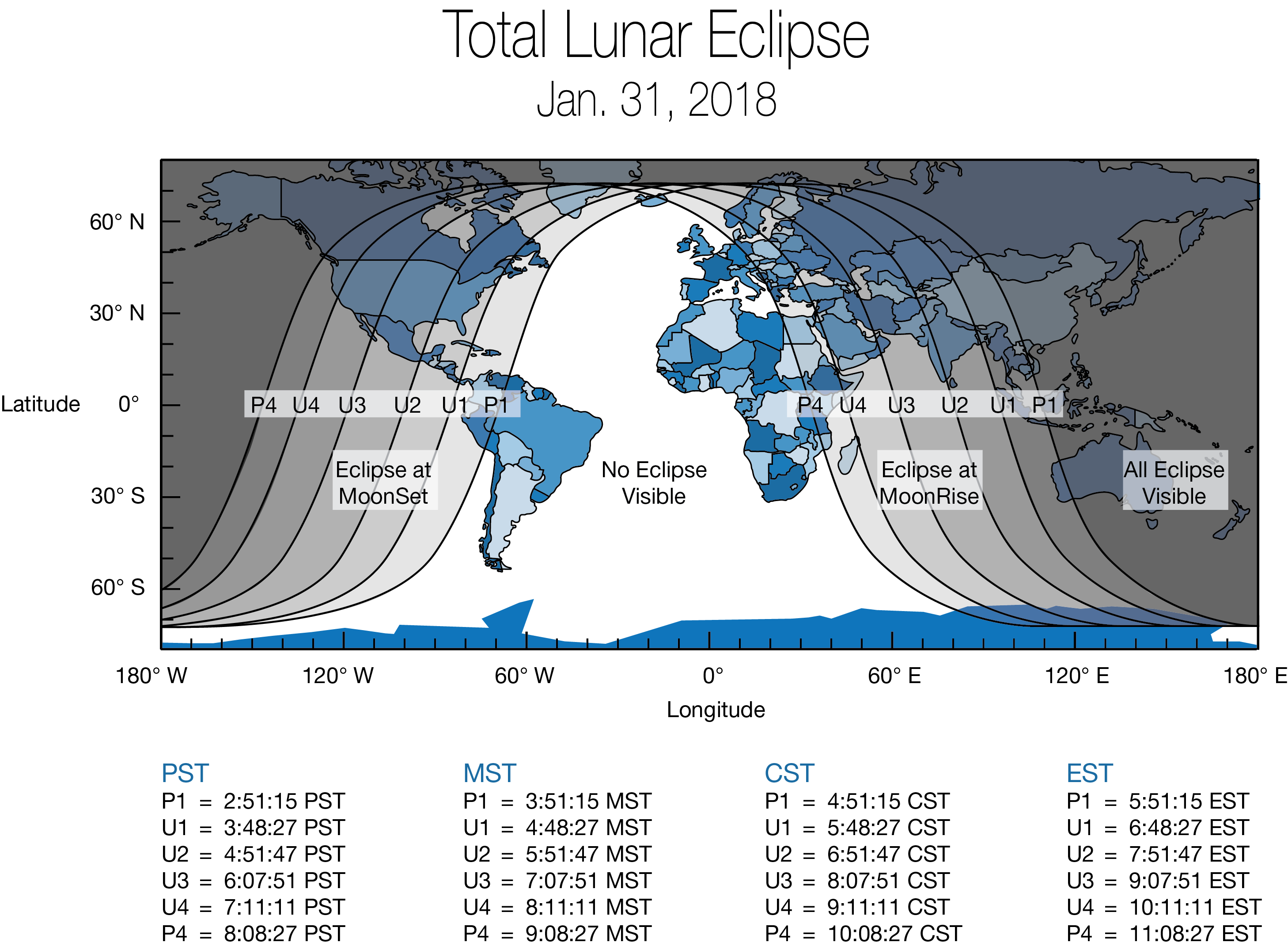 Image 6. Global map showing areas of the world that will experience the Jan. 31, 2018 super blue blood moon. The eclipse will be visible before sunrise on Jan. 31 for those in North America, Alaska and Hawaii. For those in the Middle East, Asia, eastern Russia, Australia and New Zealand, the super blue blood moon can be seen during moonrise the evening of the 31st. Credits: NASA [click to enlarge]