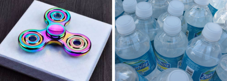 LEFT: Fidget spinners were a big hit this year. Photo: Twitter. RIGHT: Students also loved flipping water bottles. Photo: public domain.