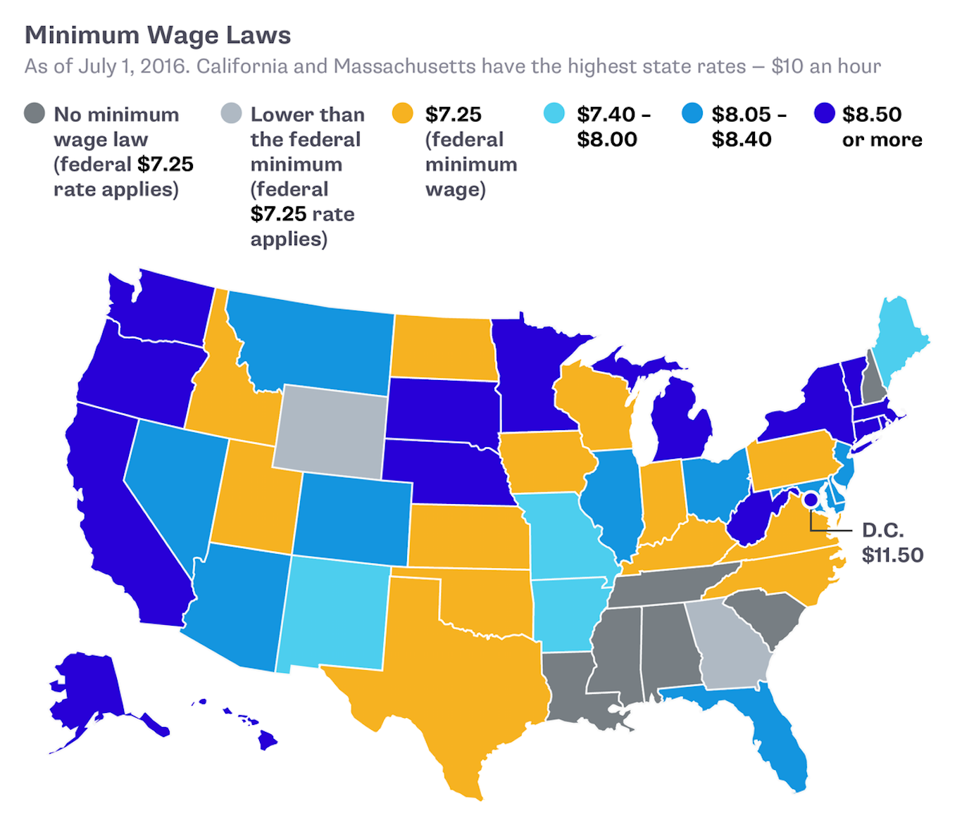 Newsela Issue Overview Minimum Wages - Minimum wage us map