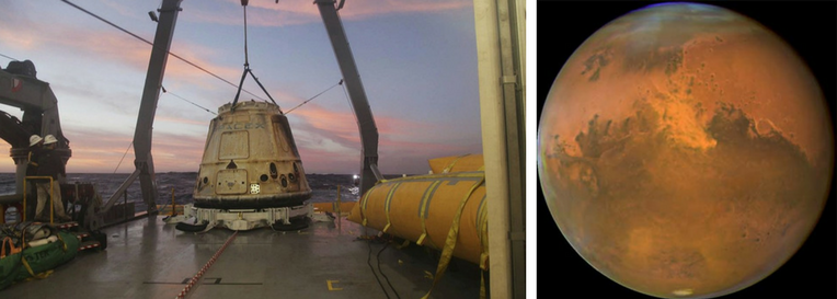 LEFT: The SpaceX Dragon capsule aboard a ship after a trip to the International Space Station. Photo: AP/SpaceX. RIGHT: A mission to Mars, the Red Planet, remains a priority. Photo: NASA.